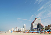 Israel, Tel Aviv, A sunny winter's day on the beach February 2009. Beachfront building
