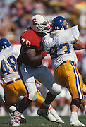 Bob Whitfield, #70 of Stanford in action v San Jose State Sep 30, 1989