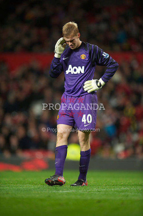 MANCHESTER, ENGLAND - Tuesday, October 26, 2010: Manchester United's goalkeeper Ben Amos looks dejected as he concedes the second goal to Wolverhampton Wanderers during the Football League Cup 4th Round match at Old Trafford. (Pic by: David Rawcliffe/Propaganda)
