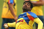 Muthiah Muralitharan of the Chennai Super Kings in delivery stride during the Superkings training session held at St Georges Park in Port Elizabeth on the 20 September 2010..Photo by: Shaun Roy/SPORTZPICS/CLT20