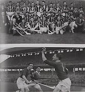 Above top: Kilkenny-All-Ireland Hurling Champions 1947. Back Row: Mick Parsons, Tom Walsh, Nick O'Donnell, Tommy Murphy, Shem Downey, Jack Mulcahy, Jim Langton, Fr Ned Kavanagh, Terry Leahy, Tom Walton, Jimmy Heffernan, Jimmy Kelly, Bill Walsh. Middle Row: Mick Dalton (Dalton), Liam Reidy, Mark Marnell, Pat Hayden, Dan Kennedy (capt), Peter Prendergast, Bill Cahill, Paddy Grace, Syd Bluett (Trainer). Front Row: Mick Joyce, Jack Egan, Jim Donegan, Padraig Lennon, Paddy O'Brien. .Above: Galway's Frank Flynn and Sean Duggan with Limerick's Dermot McCarthy in Croke Park. Sean was in goal for Galway in the two All-Ireland semi-finals defeats by Kilkenny by one point in 1945 and 1947.