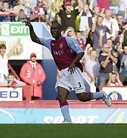 Photo: Greig Cowie.<br /> 20/09/2003.<br /> Barclaycard Premiership. Aston Villa v Charlton Athletic.<br /> Jlloyd Samuel celebrates his wonder strike