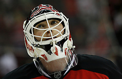 Feb 28, 2009; Newark, NJ, USA; New Jersey Devils goalie Martin Brodeur (30) during the third period of their game against the Florida Panthers at the Prudential Center. The Devils defeated the Panthers 7-2.