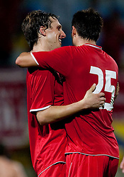 Ante Vitaic and Filip Marcic of Split celebrate after the game. UEFA Europa League, Second Qualifying Round, 1st Leg, NK Domzale vs RNK Split, on July 14, 2011, in Sports park Domzale, Slovenia. Split defeated Domzale 2-1. (Photo by Vid Ponikvar / Sportida)