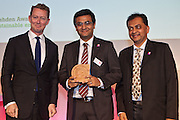 Greg Barker MP with Aditya Handa and Pankaj Patel, Abellon CleanEnergy Ltd, India