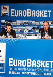 Anze Blazic, PR  of KZS and Bozidar Maljkovic, coach of Slovenia during press conference after the basketball game between National basketball teams of Slovenia and Serbia in 7th place game of FIBA Europe Eurobasket Lithuania 2011, on September 17, 2011, in Arena Zalgirio, Kaunas, Lithuania. Slovenia defeated Serbia 72 - 68 and placed 7th. (Photo by Vid Ponikvar / Sportida)
