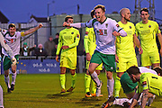 Bognor Regis Town defender Ed Sanders (6) scores an equaliser 1-1 during the Ryman Premier League match between Bognor Regis Town and Havant & Waterlooville FC at Nyewood Lane, Bognor, United Kingdom on 26 December 2016. Photo by Jon Bromley.