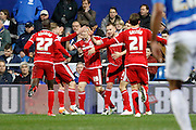 Middlesbrough FC striker Jordan Rhodes (9) celebrates his goal with team mates during the Sky Bet Championship match between Queens Park Rangers and Middlesbrough at the Loftus Road Stadium, London, England on 1 April 2016. Photo by Andy Walter.