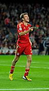 01.05.2013, Fussball Champions League Halbfinale Rückspiel: FC Barcelona - FC Bayern München, im Stadion Nou Camp in Barcelona, Spanien. Torjubel Thomas Müller (Bayern München).