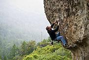 "Eric Berghorn climbing ""Wine Style"" 5.11b, on Mt. St. Helena in Robert Louis Stevenson State Park, Calistoga, California"