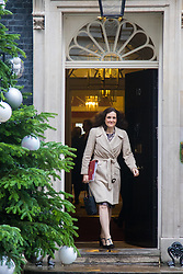 Downing Street, London, December 8th 2015. Northern Ireland Secretary Theresa Villiers leaves Downing Street following the weekly cabinet meeting.