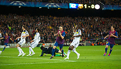 BARCELONA, SPAIN - Tuesday, April 24, 2012: FC Barcelona's Andres Iniesta celebrates scoring the second goal against Chelsea during the UEFA Champions League Semi-Final 2nd Leg match at the Camp Nou. (Pic by David Rawcliffe/Propaganda)
