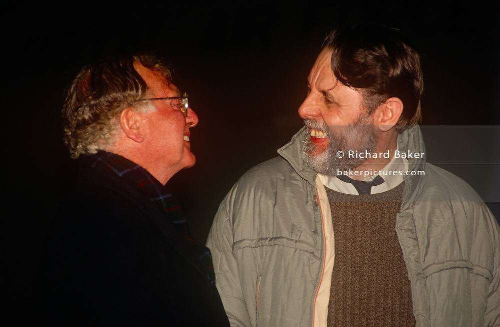 Soon after his release, former Lebanon hostage Terry Waite meets the former Archbishop of Canterbury, Lord Runcie on 19th November 1991 at RAF Lyneham, England. Terry Waite CBE is an English humanitarian and author. He was the Assistant for Anglican Communion Affairs for the then Archbishop of Canterbury, Robert Runcie, in the 1980s and held captive in Lebanon from 1987 to 1991.