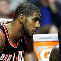 16 March 2012: Portland Trail Blazers power forward LaMarcus Aldridge (12) is seen on the bench during the Portland Trail Blazers 100-89 victory over the Chicago Bulls at the United Center, Chicago, Illinois, USA.