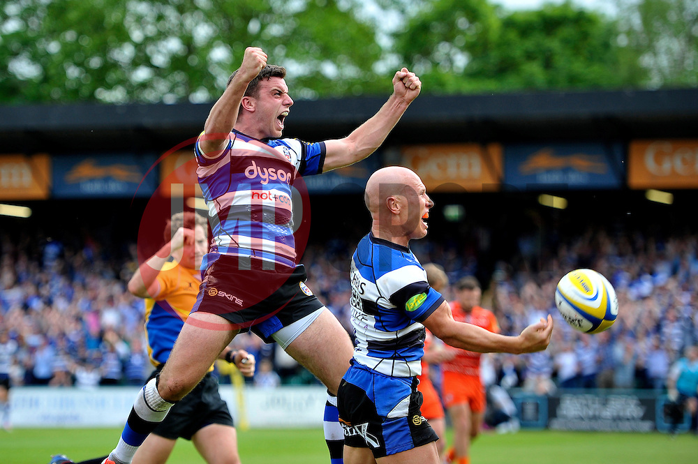 George Ford of Bath Rugby celebrates team-mate Peter Stringer's try - Photo mandatory by-line: Patrick Khachfe/JMP - Mobile: 07966 386802 23/05/2015 - SPORT - RUGBY UNION - Bath - The Recreation Ground - Bath Rugby v Leicester Tigers - Aviva Premiership Semi-Final