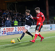 24th November 2017, Dens Park, Dundee, Scotland; Scottish Premier League football, Dundee versus Rangers; Dundee's Scott Allan and Rangers' Josh Windass
