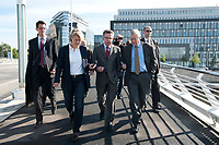03 SEP 2010, BERLIN/GERMANY:<br /> Birgit Marschall (L), Redakteurin Rheinische Post, Thomas de Maiziere (M), CDU, Bundesinnenminister, und Dr. Gregor Mayntz (R), Redakteur Rheinische Post, Intervirew waehrend einem Spaziergang von der Bundespressekonferenz zum Bundesinnenministerium<br /> IMAGE: 20100903-01-009<br /> KEYWORDS: Thomas de Maizière