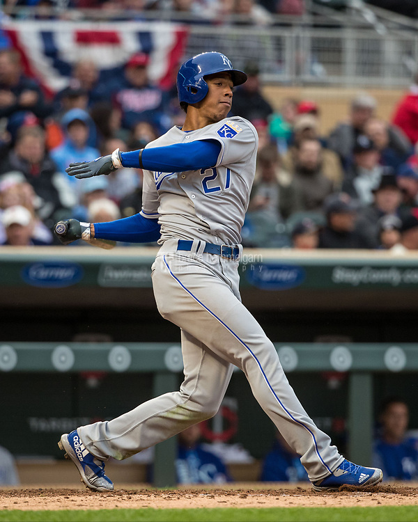 MINNEAPOLIS, MN- APRIL 3: Raul Mondesi #27 of the Kansas City Royals bats against the Minnesota Twins on April 3, 2017 at Target Field in Minneapolis, Minnesota. The Twins defeated the Royals 7-1. (Photo by Brace Hemmelgarn) *** Local Caption *** Raul Mondesi