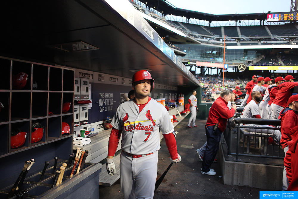 Matt Holliday, St. Louis Cardinals, in the dugout during the New York Mets Vs St. Louis Cardinals MLB regular season baseball game at Citi Field, Queens, New York. USA. 18th May 2015. Photo Tim Clayton