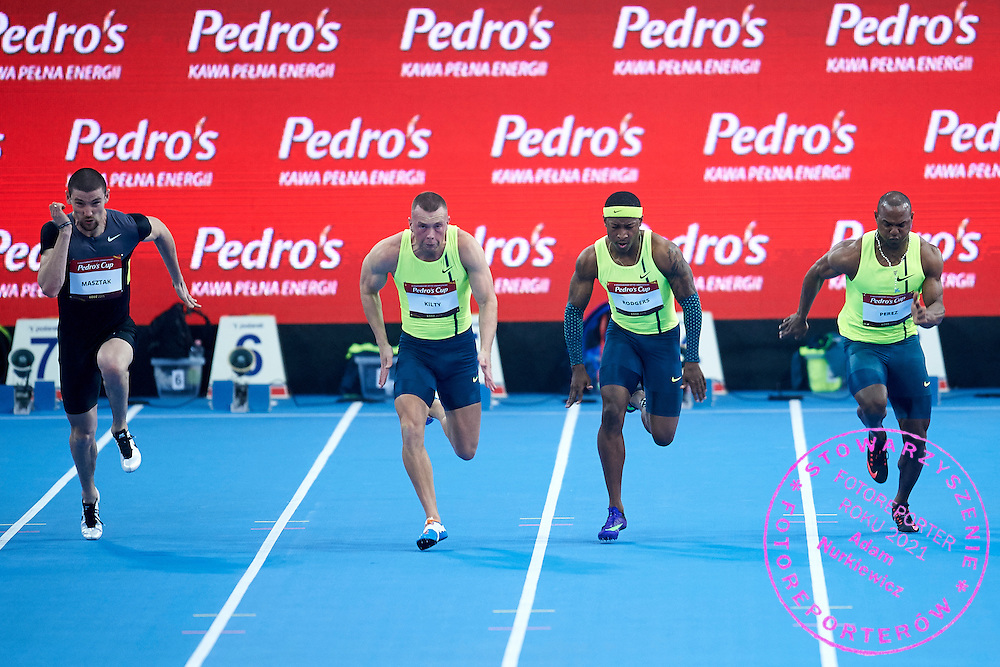 (L-R) Kamil Masztak from Poland  and Richard Kilty from Great Britain and Mike Rodgers from USA and Yunier Perez from Cuba during athletics meeting Pedro's Cup at Atlas Arena in Lodz, Poland.<br /> <br /> Poland, Lodz, February 17, 2015<br /> <br /> Picture also available in RAW (NEF) or TIFF format on special request.<br /> <br /> For editorial use only. Any commercial or promotional use requires permission.<br /> <br /> Adam Nurkiewicz declares that he has no rights to the image of people at the photographs of his authorship.<br /> <br /> Mandatory credit:<br /> Photo by &copy; Adam Nurkiewicz / Mediasport