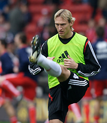 MIDDLESBROUGH, ENGLAND - Saturday, January 12, 2008: Liverpool's Sami Hyypia warms-up before the Premiership match against Middlesbrough at the Riverside Stadium. (Photo by David Rawcliffe/Propaganda)