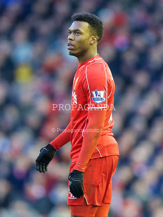 LIVERPOOL, ENGLAND - Saturday, January 31, 2015: Liverpool's Daniel Sturridge in action against West Ham United during the Premier League match at Anfield. (Pic by David Rawcliffe/Propaganda)