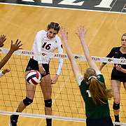 18 November 2017:  The San Diego State women's volleyball team closes out it's season against #24 Colorado State University. San Diego State middle blocker Baylee Little (16) spikes the ball through two CSU defenders in the first set. The Aztecs fell to the Rams in three sets. <br /> www.sdsuaztecphotos.com