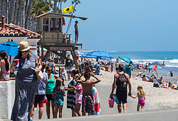 June 14, 2017 - San Clemente, California, USA - Beach goers enjoy the summer sun at the San Clemente Pier on Wednesday, June 14, 2017. The Heal the Bay's new beach report card lists the San Clemente Pier area in San Clemente, as one of the ten worst in the state for bacteria pollution..(Photo by Mark Rightmire, Orange County Register/SCNG) (Credit Image: © Mark Rightmire, Mark Rightmire/The Orange County Register via ZUMA Wire)