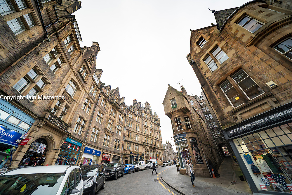 View of historic buildings on Cockburn Street in Edinburgh Old Town, Scotland, UK