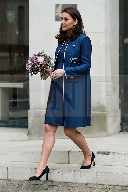 © Licensed to London News Pictures. 27/02/2018. London, UK. The Duchess of Cambridge  visits the Royal College of Obstetricians and Gynaecologists (RCOG)  to learn about the College's global health programmes to reduce maternal and newborn mortality worldwide, and attends a roundtable discussion on tackling the stigma around women's health.Photo credit: Ray Tang/LNP