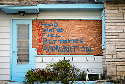 September 7, 2017 - Lake Worth, Florida, U.S. - A house in Lake Worth touts its hurricane preparations on a plywood window covering in advance of Hurricane Irma Thursday. (Credit Image: © Bruce R. Bennett/The Palm Beach Post via ZUMA Wire)