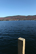 USA, Upstate New York Lake George a wooden jetty