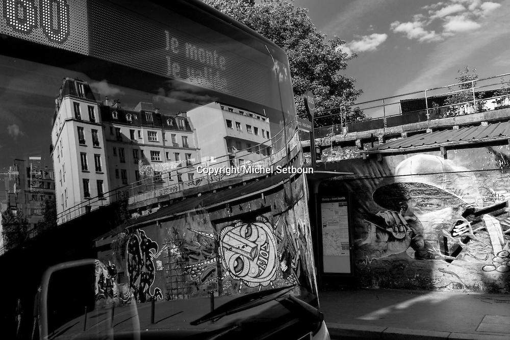 France. Paris 19th district, Graffitis in Corentin cariou district