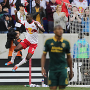 Bradley Wright-Phillips, (left), New York Red Bulls, celebrates after scoring from the penalty spot during the New York Red Bulls Vs Portland Timbers, Major League Soccer regular season match at Red Bull Arena, Harrison, New Jersey. USA. 24th May 2014. Photo Tim Clayton