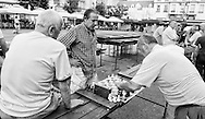 Men playing chess on Britanski trg, Zagreb, Croatia