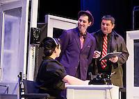 "Nurse Ruth Kelly (Meredith Imbimbo), Elwood P. Dowd (Bryan Halperin) and Dr. Lyman Sanderson (Michael G. Baker) during dress rehearsal for ""Harvey"" at the Winnipesaukee Playhouse Tuesday evening.  (Karen Bobotas/for the Laconia Daily Sun)"