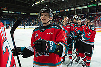KELOWNA, BC - SEPTEMBER 28:  Pavel Novak #11 of the Kelowna Rockets exits the ice after the win against the Everett Silvertips  at Prospera Place on September 28, 2019 in Kelowna, Canada. (Photo by Marissa Baecker/Shoot the Breeze)