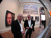 John Hoyland and Mick Moon in front of Mario Rossi microphone painting. Royal Academy Annual dinner. Royal Academy, Piccadilly. 6 June 2006. ONE TIME USE ONLY - DO NOT ARCHIVE  © Copyright Photograph by Dafydd Jones 66 Stockwell Park Rd. London SW9 0DA Tel 020 7733 0108 www.dafjones.com