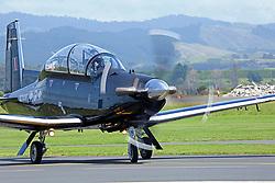 The RNZAF Black Falcons aerobatic team using six Beechcraft T-6 Texan II aircraft flew into Tauranga to prepare for Saturday's Tauranga City Airshow, Tauranga, New Zealand, Friday, January 2018. Credit:SNPA / Richard Moore **NO ARCHINVING**