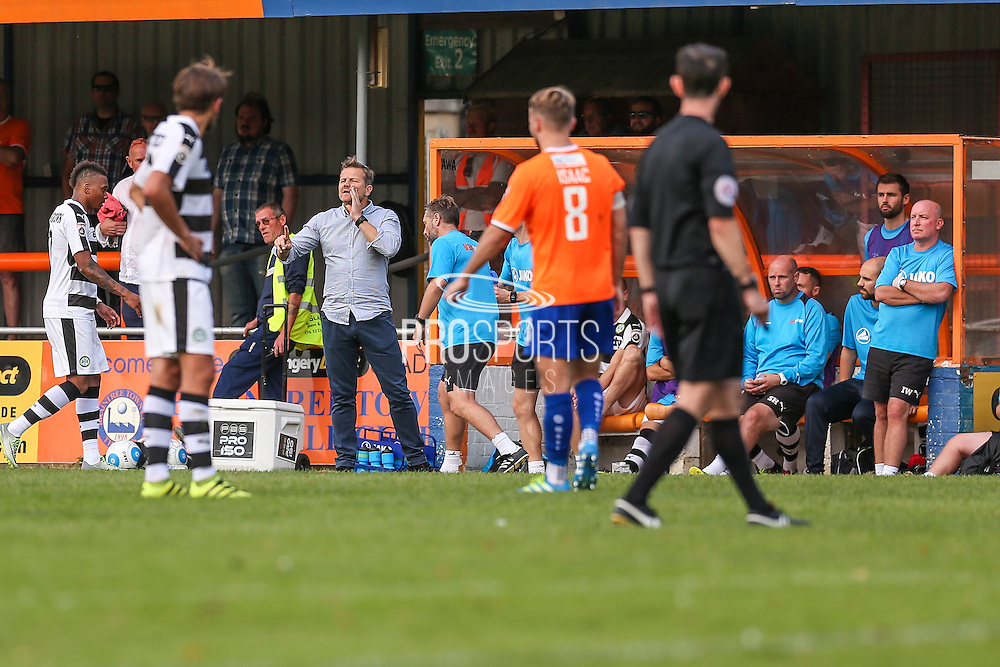 Forest Green Rovers manager, Mark Cooper issues instructions during the Vanarama National League match between Braintree Town and Forest Green Rovers at the Amlin Stadium, Braintree, United Kingdom on 24 September 2016. Photo by Shane Healey.