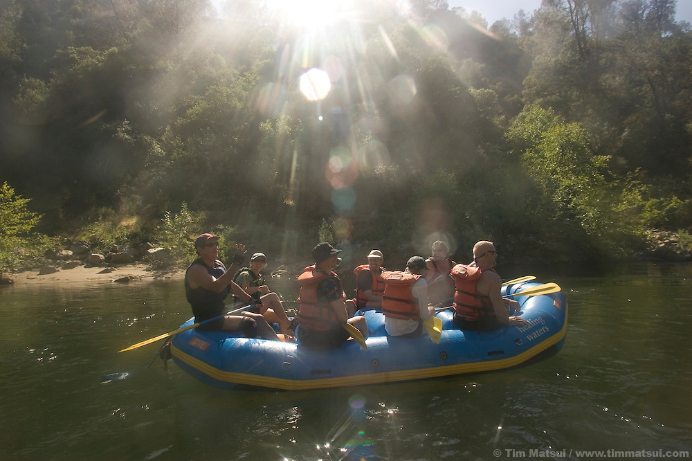 SATURDAY JULY 8, 2006 - LOTUS, CA  Rafters with guide Frank Hatch, at left, at the Healing Waters weekend retreat, a non profit whose mission is to empower, inspire and enrich the lives of people challenging HIV/AIDS through wilderness adventures, on Saturday, July 8, 2006 on the South Fork of the American River in Calif.