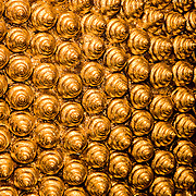 Detail of golden hair of huge Reclining Buddha statue (Bangkok, Thailand - Oct. 2008) (Image ID: 081012-1544333a)
