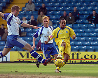 Photo: Paul Greenwood.<br />Bury FC v Wycombe Wanderers. Coca Cola League 2. 17/02/2007. Bury's Paul Scott, left, closes in on Wycombe's Chris Palmer