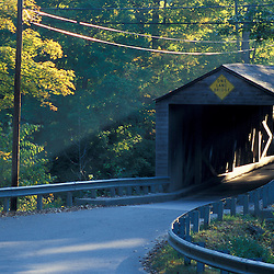 West Cornwall, CT. A covered bridge at the end of Main Street in West Cornwall in the Litchfield Hills of western Connecticut.