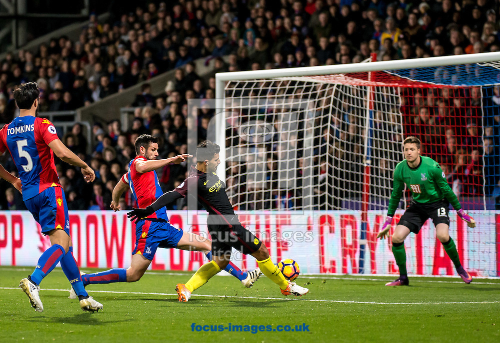 Sergio Aguero of Manchester City shoots during the Premier League match at Selhurst Park, London<br /> Picture by Liam McAvoy/Focus Images Ltd 07413 543156<br /> 19/11/2016