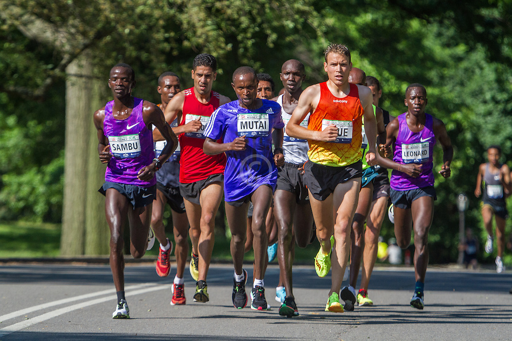 UAE Healthy Kidney 10K, Geoffrey Mutai leads men early in race
