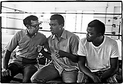 Muhammad Ali - 5th St Gym/Miami Beach, FL      Tri-X     September 1970<br /> training/workout prior to fighting Jerry Quarry in Atlanta (Oct 1970);<br /> Angelo Dundee (trainer/cormerman); Bundini (assistant trainer/assistant cornerman)