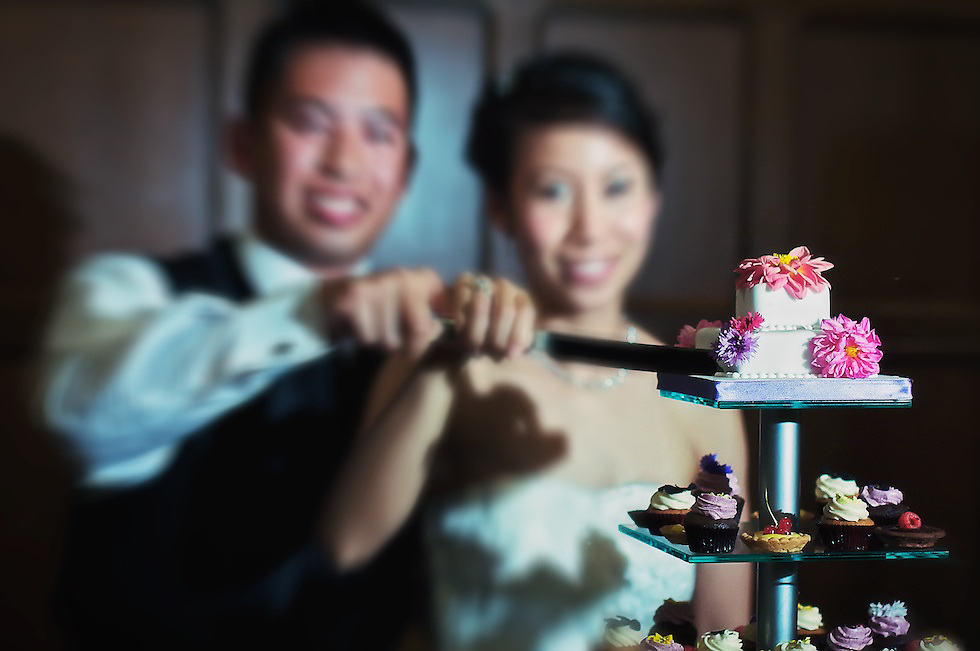 The happy newlyweds cut their huge wedding cake! There were a ton of mini-cupcakes and pastries, too. Yum.