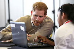 © Licensed to London News Pictures. 08/03/2018. Birmingham, UK. PRINCE HARRY talks to schoolgirls while attending Stemettes International Women's Day event at Millennium Point in Birmingham. Photo credit: Dave Warren/LNP