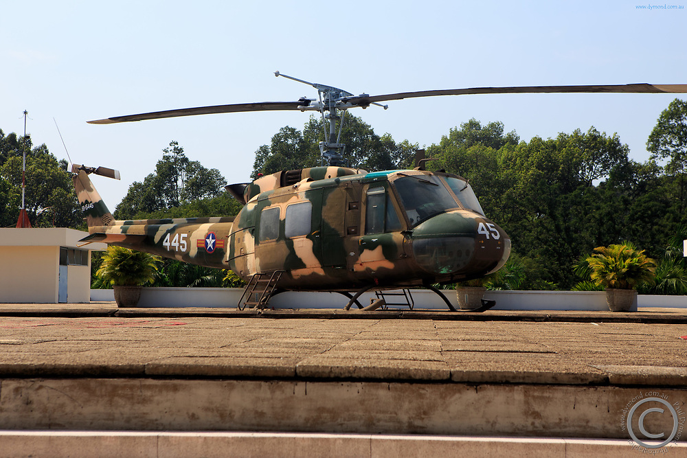 A military helicopter on the roof of the Independence Palace, Ho Chi Minh City, Vietnam.